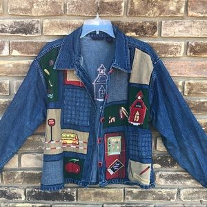 Life Style denim school teacher theme jacket